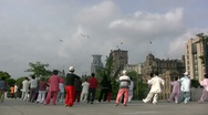 Stock Video Footage of Martial arts (tai chi) on the Bund in Shanghai, China