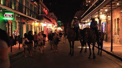 Bourbon Street New Orleans Mounted Police Stock Footage