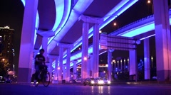 Blue underpass Shanghai, China Stock Footage