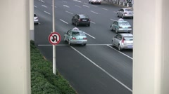 Traffic sign Shanghai - no U turn Stock Footage