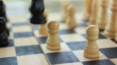 Knight captures pawn (chess) Stock Footage
