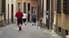 Savona tourists walk alley P HD 8782 Stock Footage