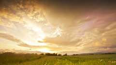 Warm Sunset With Powerful Clouds Stock Footage