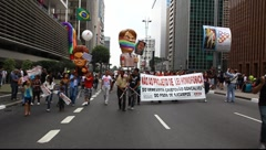 Anti homophobia at LGBT Gay Pride Parade Sao Paulo Brazil - stock footage