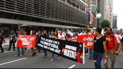 Anti homophobia at LGBT Gay Pride Parade Sao Paulo Brazil Stock Footage