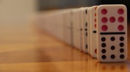 Falling Dominos In A Line Part #1 Stock Footage