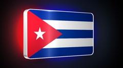 Cuba 3d flag Stock Footage