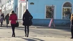 PETROZAVODSK, RUSSIA -April, 13: Pedestrians crossing Gertsen street in the Stock Footage