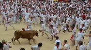 Stock Video Footage of Bulls run. San Fermin. Pamplona. Spain