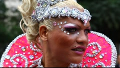 Transvestite at LGBT Gay Pride Parade Sao Paulo Brazil Stock Footage