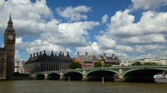 Mid shot pan from Westminster Bridge to The Houses of Parliament in London - stock footage