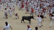Bulls run. San Fermin. Pamplona. Spain Stock Footage