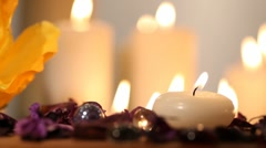 Candles. White backgroung Stock Footage