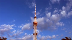 TV transmitter tower in Kyiv, Ukraine Stock Footage