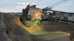 Giant bucket wheel excavator Stock Footage