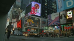 NYC, Billboards in the evening, low angle Stock Footage