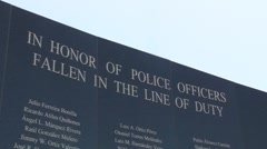 Police Officers Fallen in the Line of Duty - Monument Memorial Stock Footage
