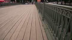 The movement on the wooden bridge Stock Footage