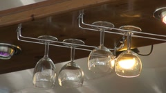 Hanging in the bar glasses Stock Footage