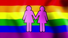 Waving rainbow flag two female sign Stock Footage