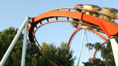 Roller coaster at Port Aventura, Spain. Rollercoaster Stock Footage
