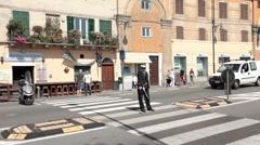 Savona Italy police woman directing traffic P HD 0361 Stock Footage