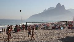 Kick ball game in Copacabana Beach Rio de Janeiro, Brazil FULL HD 1080P - stock footage