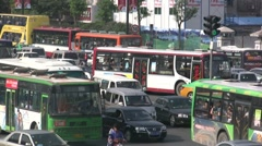 Busy intersection and traffic jam, Xi'an, China Stock Footage