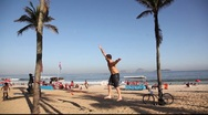 Stock Video Footage of Walking on thin rope in Copacabana Beach Rio de Janeiro, Brazil FULL HD 1080P