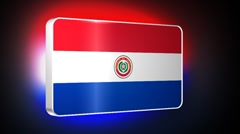 Paraguay 3d flag Stock Footage