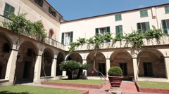 Savona Italy museum courtyard P HD 0397 Stock Footage