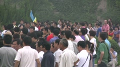 Massive crowds wait to enter Terracotta Army complex in Xian, China Stock Footage