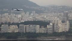 Airplane landing Rio de Janeiro Brazil Santos Durmont airport FULL HD 1080P Stock Footage