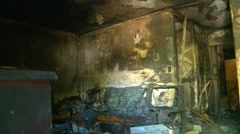 Interior of fire damaged house Stock Footage