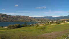 Establishing shot, city of Vernon and Lake Okanagan Stock Footage