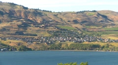 Lake and hillside development, The Rise in Vernon BC Stock Footage