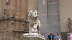 Lion statue, symbol of Venetian empire in Florence, Italy Stock Footage