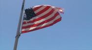 USA American Flag at half mast Stock Footage