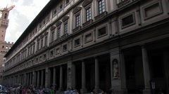 Art gallery building , Uficii in Florence, Italy Stock Footage