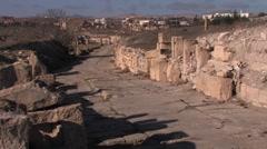 Road in Roman settlement, Makthar, Tunisia Stock Footage