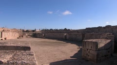 Pretty theater building at Roman settlement, Makthar, Tunisia Stock Footage