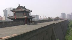 Xian ancient city wall, historical China, tourism Stock Footage