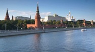 Stock Video Footage of Kremlin Palace and Moskva river traffic, Moscow, Russia