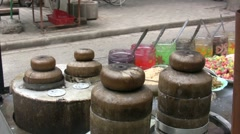 Closeup of hot candy in Chinese street Stock Footage