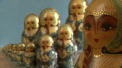 Matryoshka, Russian dolls (depth of fiels) Stock Footage