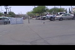 Motorcycle crashes into parked motorcycle Stock Footage