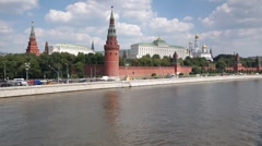 Grand Kremlin Palace and Moskva river, Moscow Stock Footage