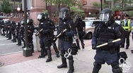 Protestors - Police Hold the line  at the Republican National Convention 08' Stock Footage