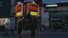 NYC Cop & horse next to Roxy Stock Footage
