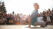 Stock Video Footage of Breakdancer in the street (Editorial)